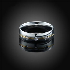 Silver & Gold Tungsten Carbide and Zirconia Wedding Engagement Ring Set