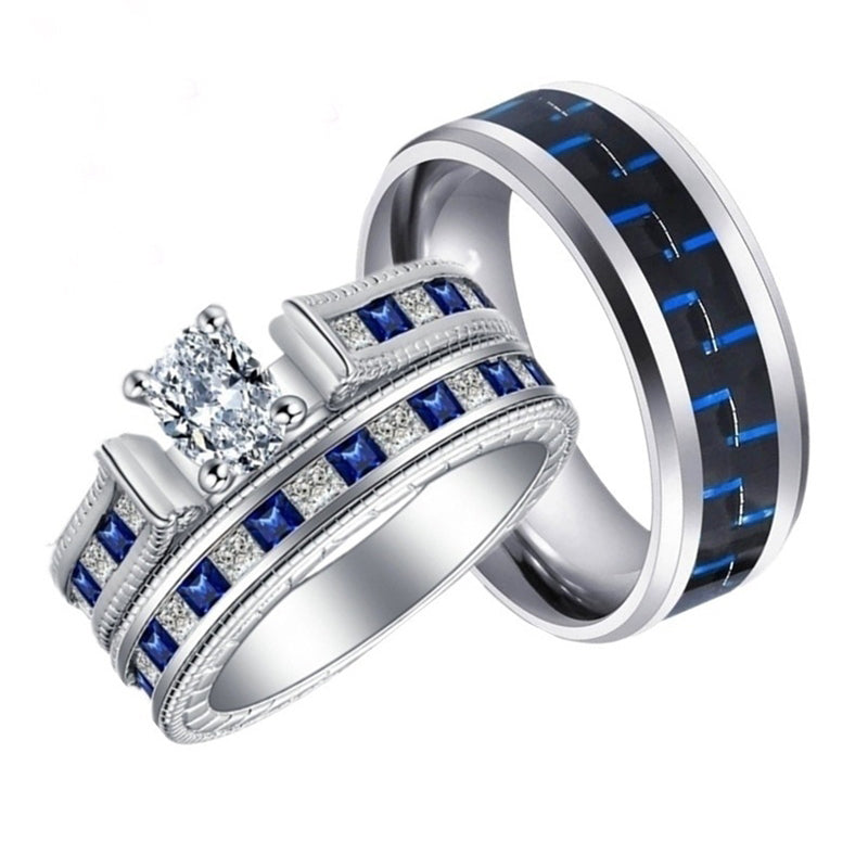 His & Hers Matching Ring Set - Zirconia and Blue & Black Inlay Tungsten Carbide