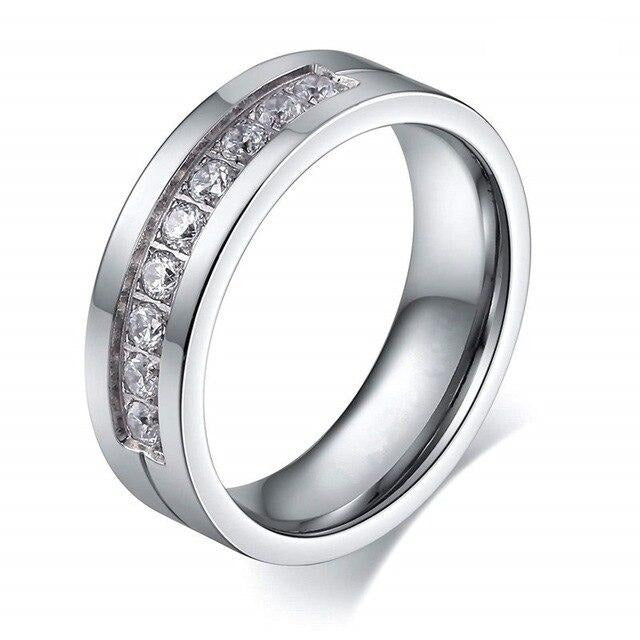Silver & Cubic Zirconia Tungsten Carbide Wedding Engagement Ring Set
