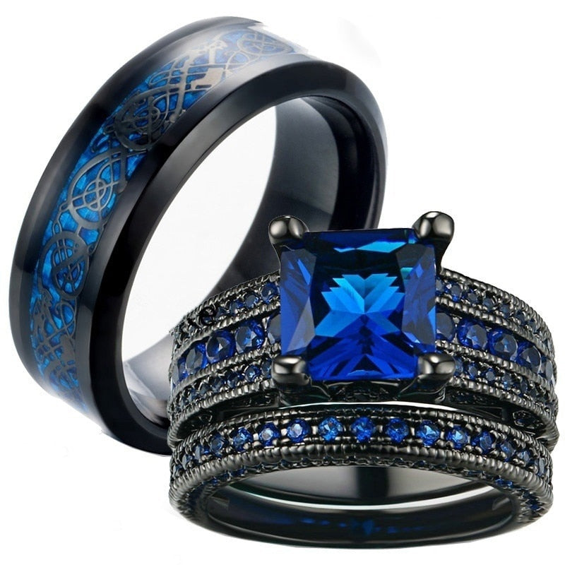 Blue & Black Celtic Dragon Inlay and Blue Square Zirconia Wedding Engagement Rings Set