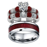 Heart Shaped Zirconia Red and White Rhinestones Wooden Wedding, Engagement Ring Set