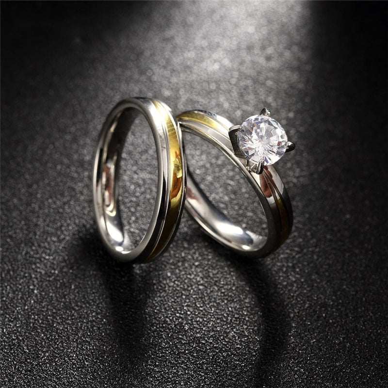 Gold & Silver Plated 316L Stainless Steel and Cubic Zirconia Wedding Ring Set