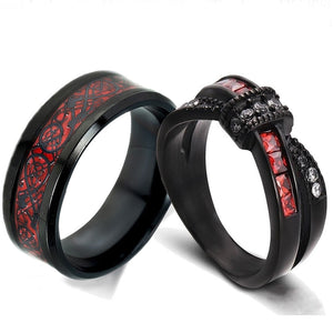 Black & Red Celtic Dragon Inlay and Bow White & Red Zirconia Wedding Ring Set