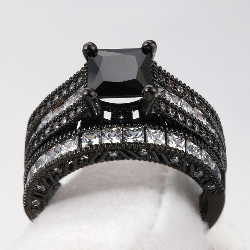 Celtic Dragon Set - Tungsten Carbide Band and Black Zirconia Engagement Wedding Ring