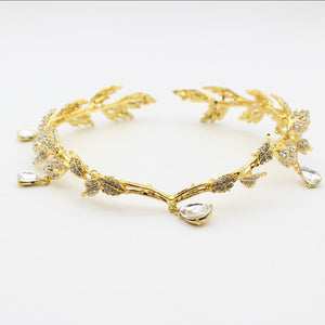 Fairytale Style Gold Leaf Tiara Circlet for Wedding or Prom
