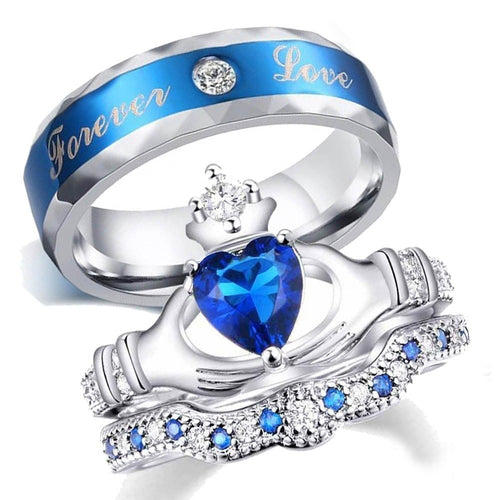 Cubic Zirconia Blue Tungsten Carbide Band and Blue Claddagh Zirconia Wedding Ring Set