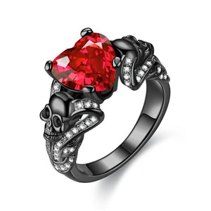 Punk Skull & Crystal Heart Cubic Zirconia Wedding Ring