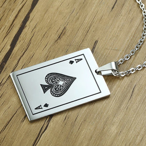 Ace of Spades Playing Card Player Pendant Necklace