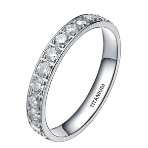 3mm Cubic Zirconia Titanium Eternity Wedding Ring