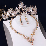 Baroque Gold Butterfly and Crystal Tiara, Necklace & Earrings Jewelry Set
