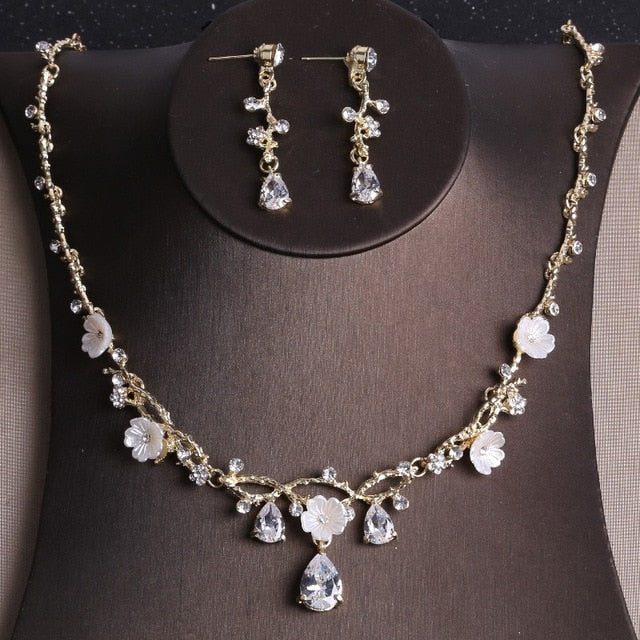 Baroque Gold Butterfly, Crystal and Rhinestone Tiara, Necklace & Earrings Jewelry Set