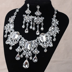 Big Rhinestone and Crystal Necklace & Earrings Classic Indian Jewelry Set