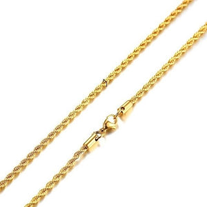 Two-toned Silver and Gold Necklace Chain with Twisted Link Design