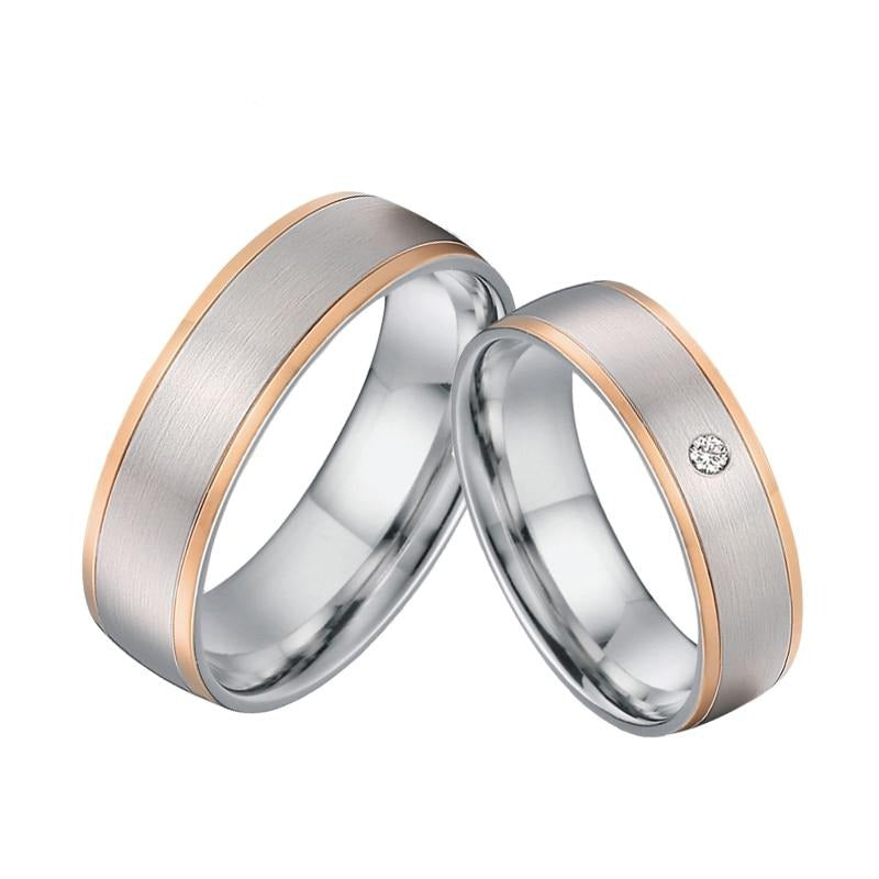 Brushed Matte & Rose Gold Titanium Steel and Cubic Zirconia Wedding Bands Set