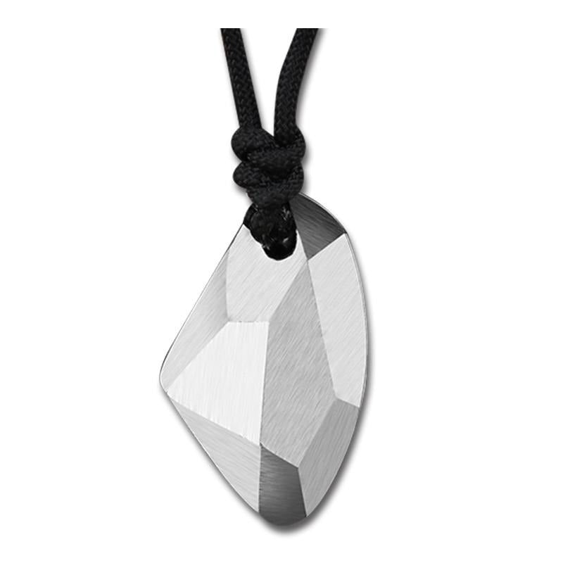 Geometric Wishing Stone 925 Sterling Silver Pendant Necklace