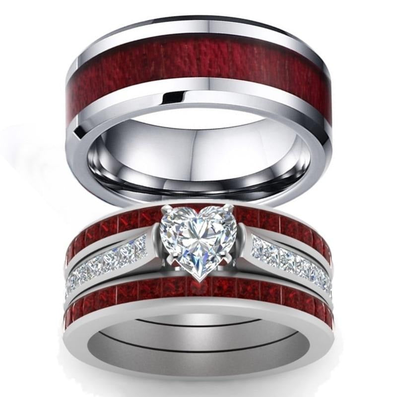 His & Hers Matching Ring Set with Koa Wood Inlay and Heart Shaped Zirconia
