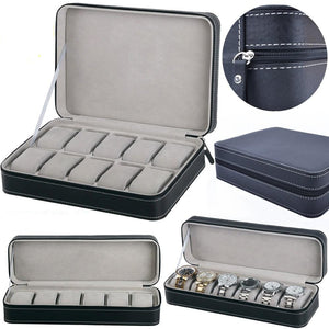 6/10/12 Slots Portable PU Leather Watch Storage Box & Organizer