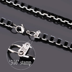 Black Alloy Box-Link Chain Collar Necklace