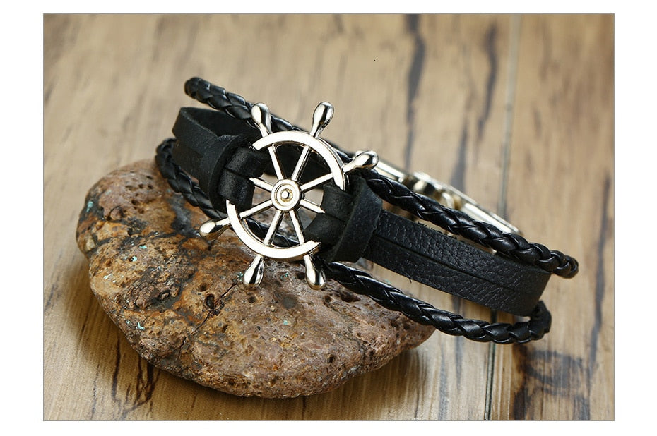 Sea Life Rudder Men's Vintage Bracelet