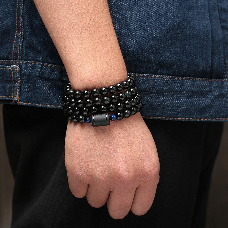 Natural Black Obsidian Stone Multilayer Bracelets