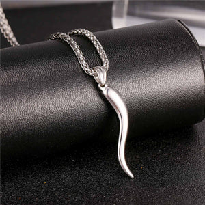 Cornicello Italian Horn Stainless Steel Amulet Pendant Chain Necklace