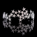 Star Tiara Crown Headband with Rhinestone Crystals