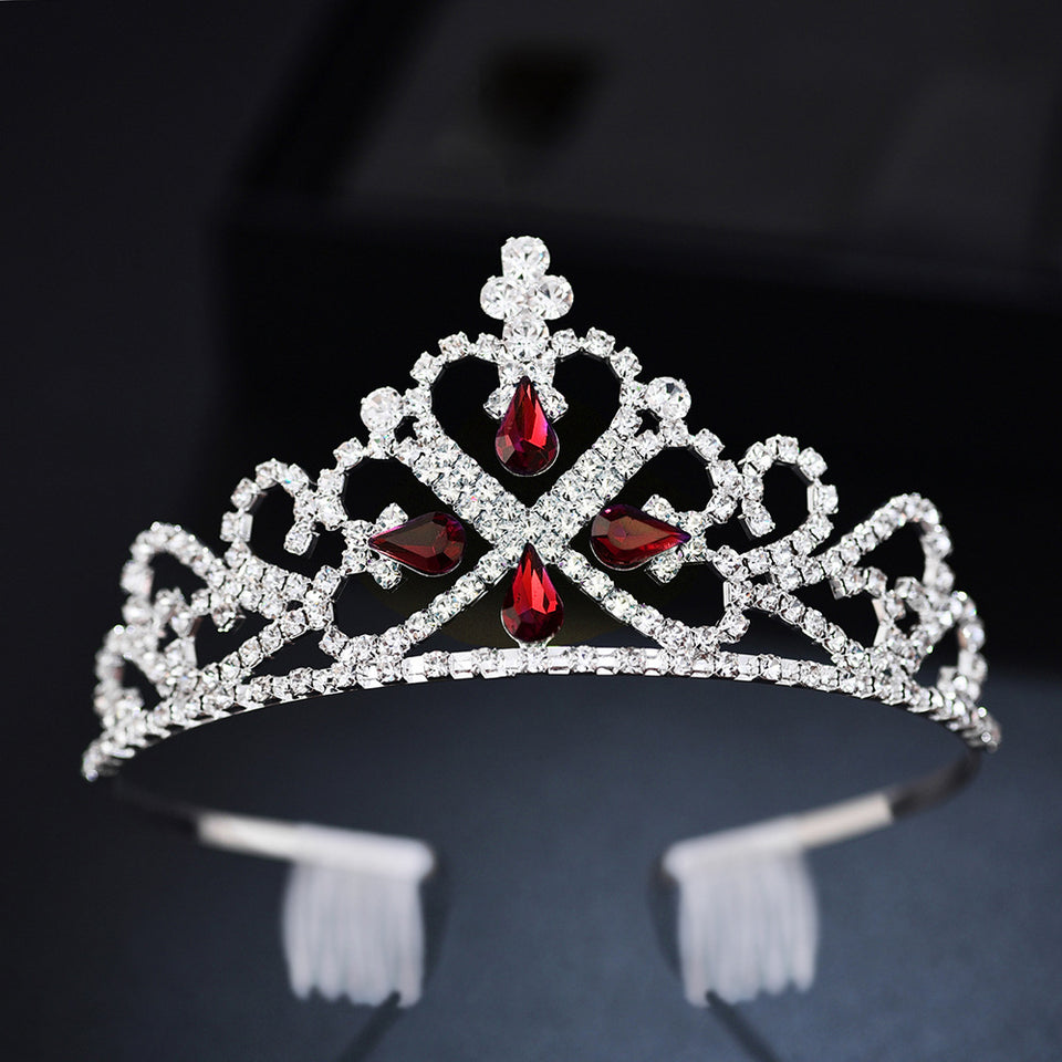 Classic A-Shaped Tiara Crown with Crystals