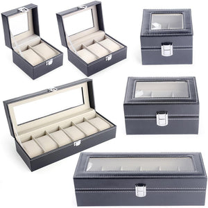 2/3/6 Slots PU Leather Watch Box, Organizer, Holder & Display