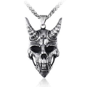 Gothic Satanic Devil Skull & Cross Stainless Steel Biker Pendant Necklace
