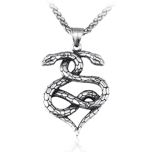 Intertwined Snakes 316L Stainless Steel Pendant Necklace