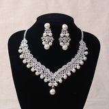 Pearl and Crystal Tiara, Necklace & Earrings Jewelry Set