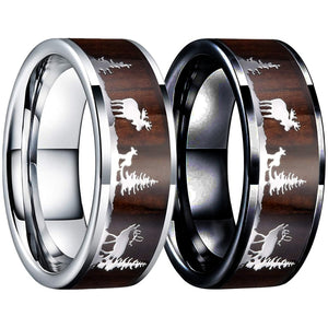 8mm Deer Stag Wood Inlay Stainless Steel Wedding Rings