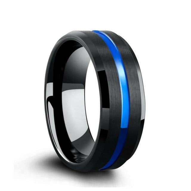 Blue Zircon Women's Ring and Tungsten Men's Ring Engagement Wedding Rings Set