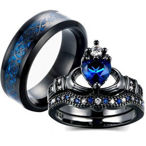 Black Celtic Dragon & Blue Claddagh Zirconia Wedding Engagement Band Set