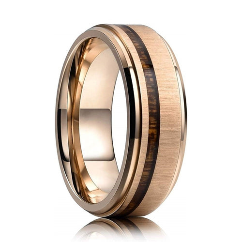 8mm Koa Wood Rose Gold Tungsten Carbide Wedding Band