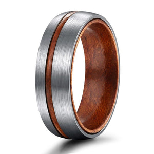 Silver Brushed Matte with Wood Groove and Interior Titanium Wedding Band