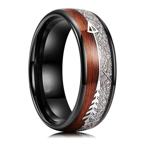 8mm Meteorite Wood Inlay Arrow Tungsten Carbide Wedding Band