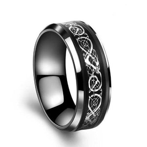 Silver & Black Celtic Dragon and Black Zirconia Engagement Wedding Ring Set
