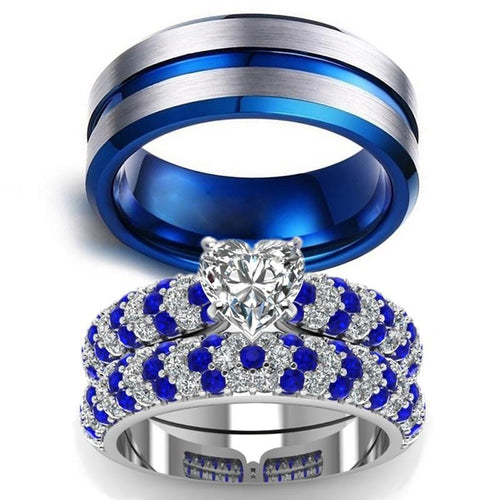 Blue & Silver Tungsten Carbide and White Zircon Rhinestones Engagement Wedding Ring Set