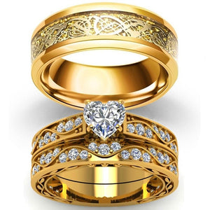 Gold-plated Celtic Dragon and Heart Zirconia Engagement Wedding Ring Set