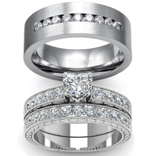 Titanium Band and Heart Zircona Engagement Wedding Ring Set