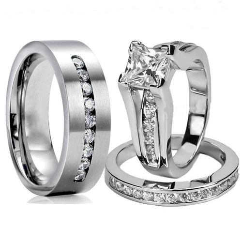 His & Hers Titanium Ring Set with Cubic Zirconia Engagement Wedding Bands