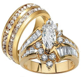 Gold Plated Cubic Zirconia Tungsten Carbide Wedding Engagement Bands Set