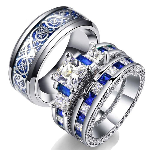 His & Hers Wedding Bands Blue and Silver Celtic Dragon Inlay and Zirconia Rings Set