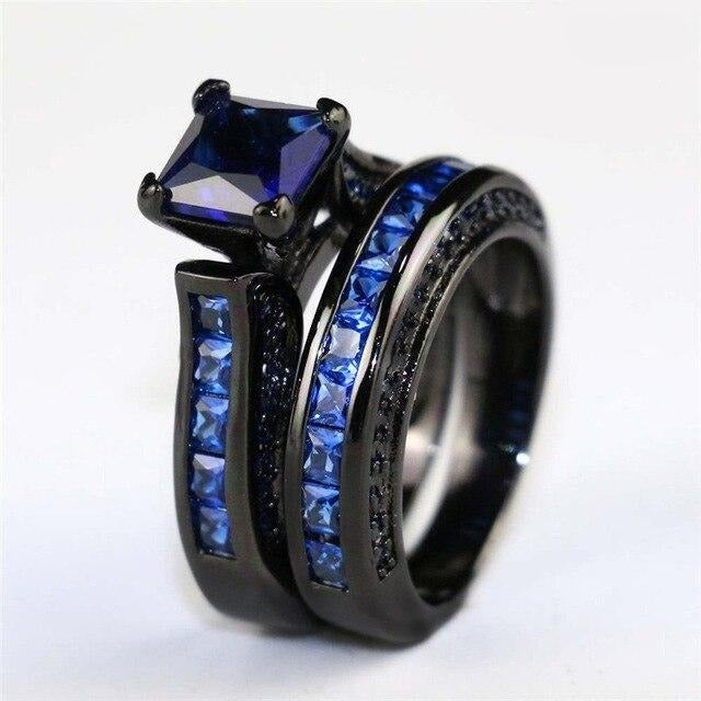 8mm Black Celtic Dragon Inlay and Blue Zircon Rhinestones Wedding Ring Set