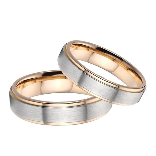 Brushed Matte Silver Titanium Steel with Gold-plated Edges Wedding Bands