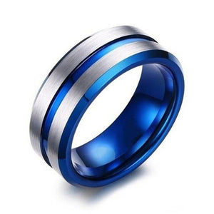 Silver Brushed Matte & Blue Inlay Band and White & Blue Zirconia Wedding Ring Set