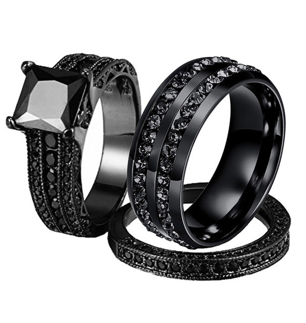 His & Hers Double-Row Cubic Zirconia Band and Black Cubic Zirconia Wedding Ring Set