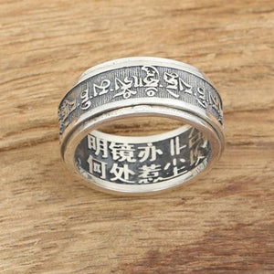 Tibetan Six Words Mantra 925 Sterling Silver Buddhist Spinner Ring