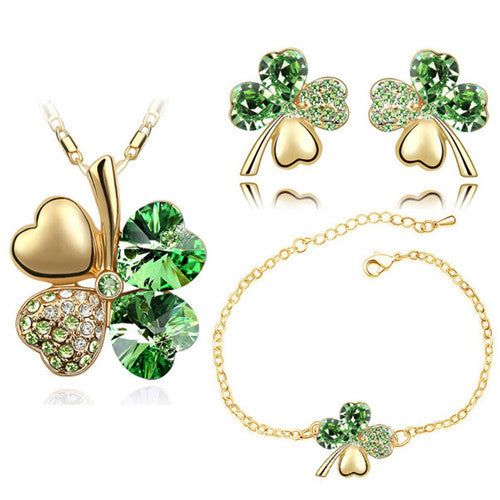Crystal Heart Four-Leaf Clover Necklace, Bracelet & Earrings Jewelry Set
